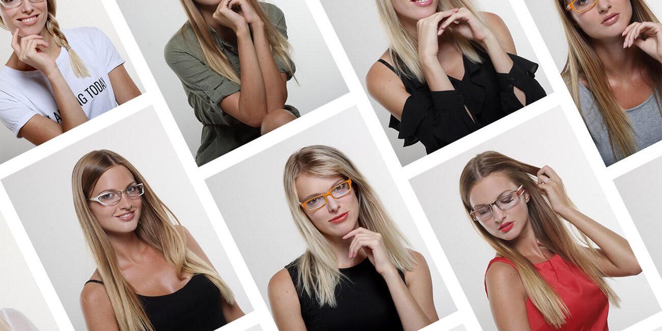 koláž produktových fotografií s dioptrickými brýlemi