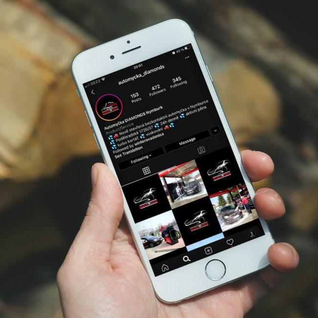 náhled Instagramového profilu Automyčky Diamonds na mobilu