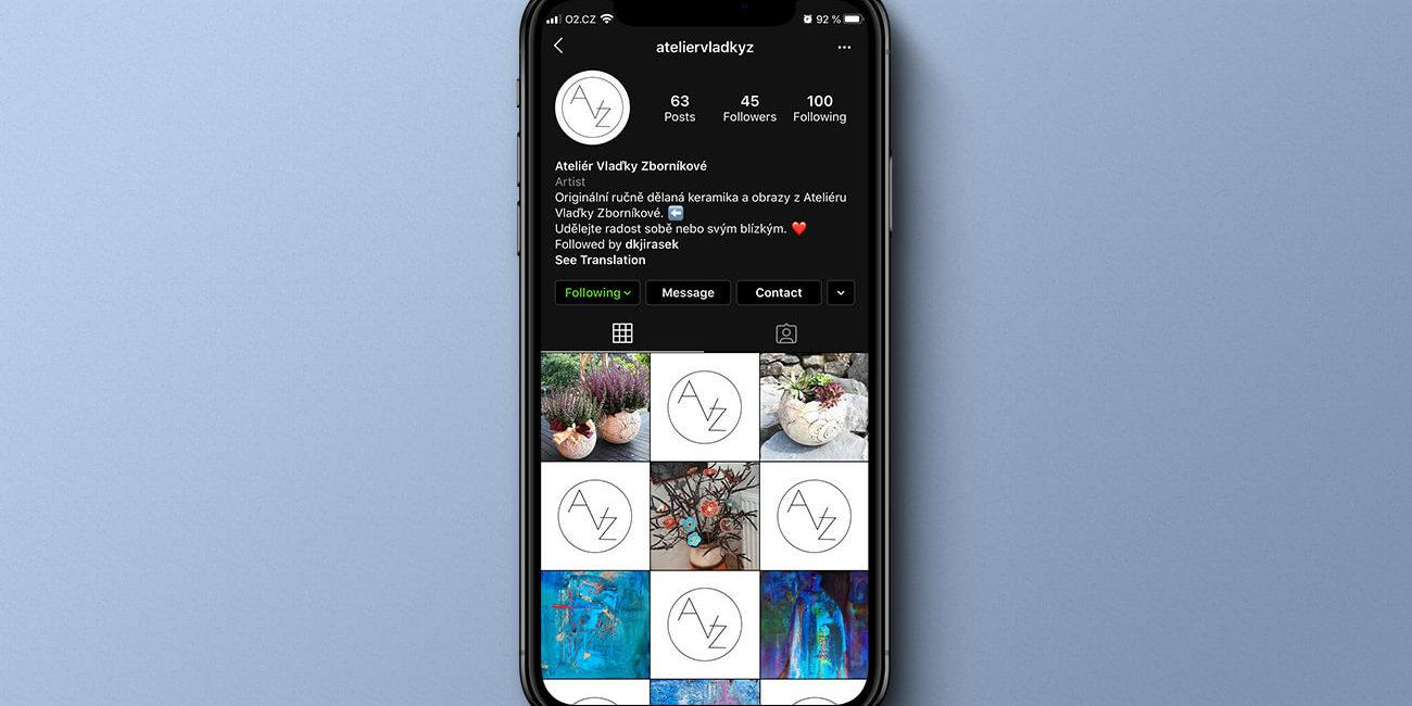náhled Instagramového profilu Ateliéru Vlaďky Zborníkové na mobilu