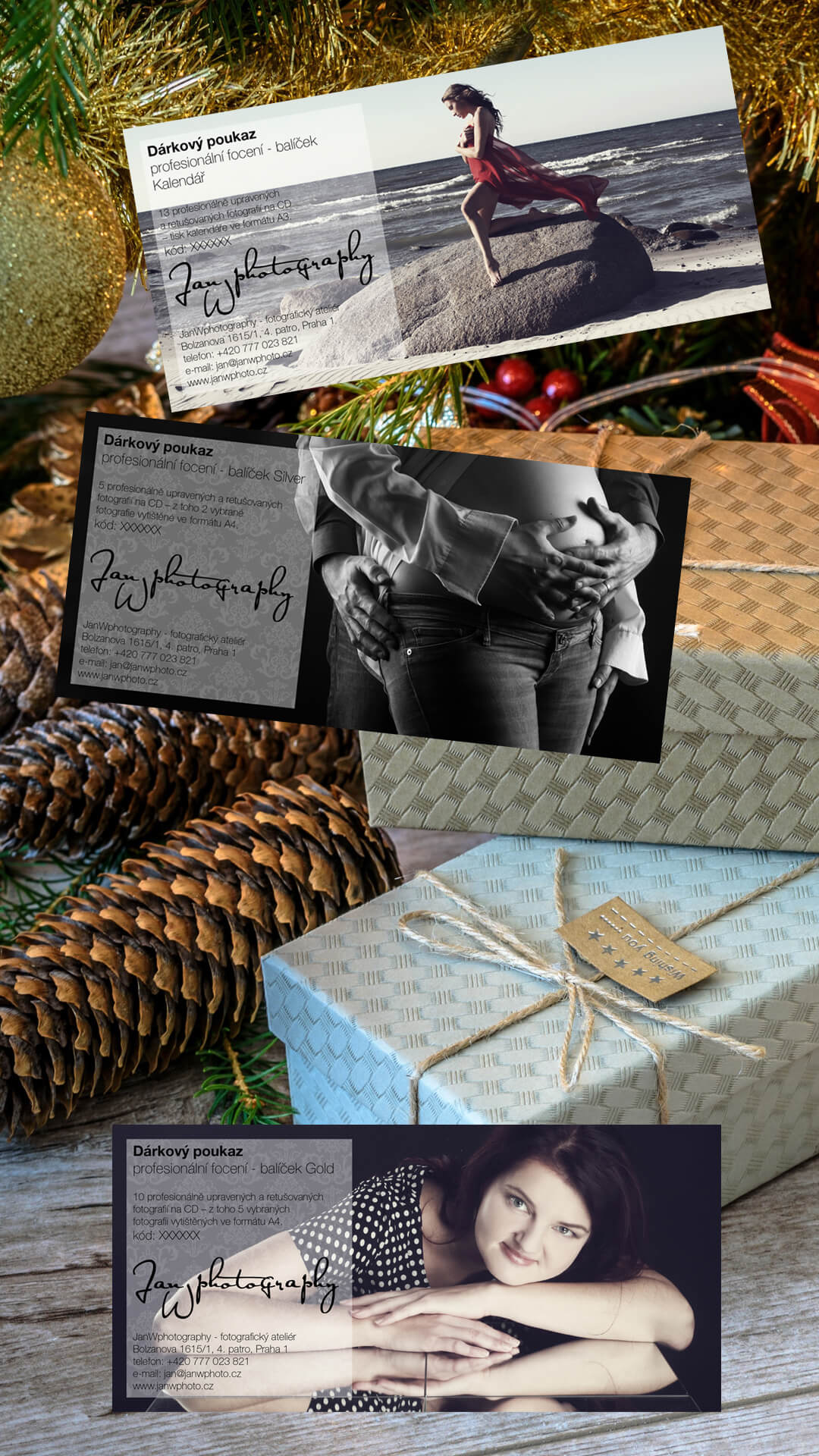 Grafické zpracování dárkových poukazů pro ateliér JanWphotography s dárky