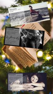 Grafické zpracování dárkových poukazů pro ateliér JanWphotography se stromečkem