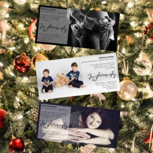 Grafické zpracování dárkových poukazů pro ateliér JanWphotography s vánočním stromečkem