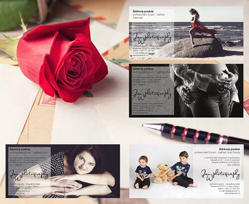 Grafické zpracování dárkových poukazů pro ateliér JanWphotography s růží